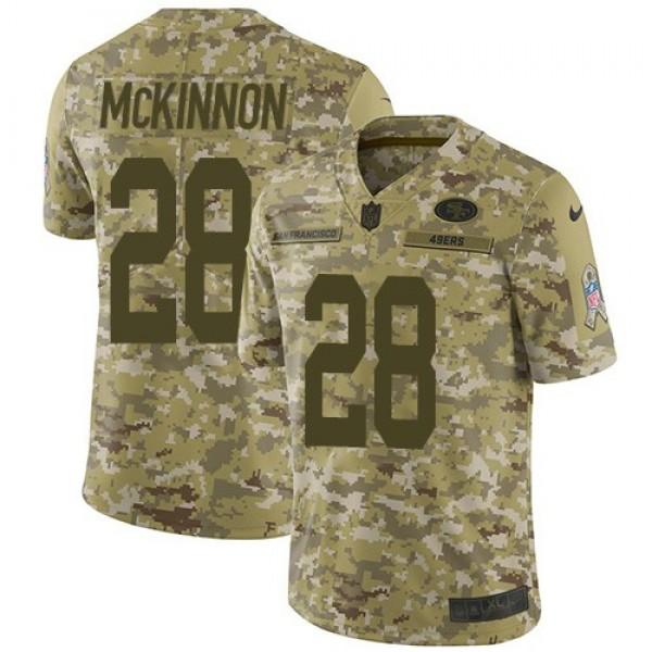 Nike 49ers #28 Jerick McKinnon Camo Men's Stitched NFL Limited 2018 Salute To Service Jersey