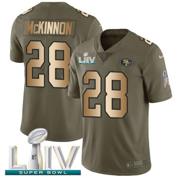 Nike 49ers #28 Jerick McKinnon Olive/Gold Super Bowl LIV 2020 Men's Stitched NFL Limited 2017 Salute To Service Jersey