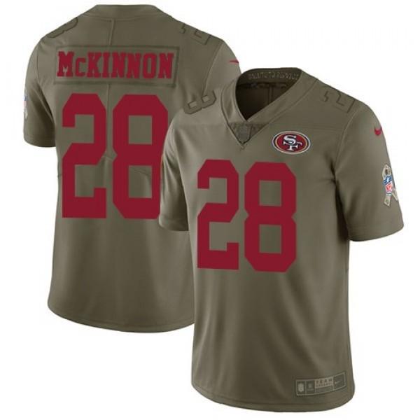 Nike 49ers #28 Jerick McKinnon Olive Men's Stitched NFL Limited 2017 Salute To Service Jersey