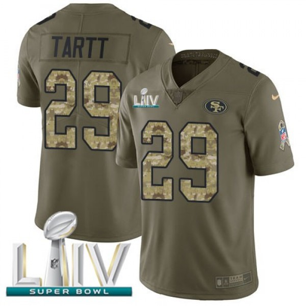 Nike 49ers #29 Jaquiski Tartt Olive/Camo Super Bowl LIV 2020 Men's Stitched NFL Limited 2017 Salute To Service Jersey