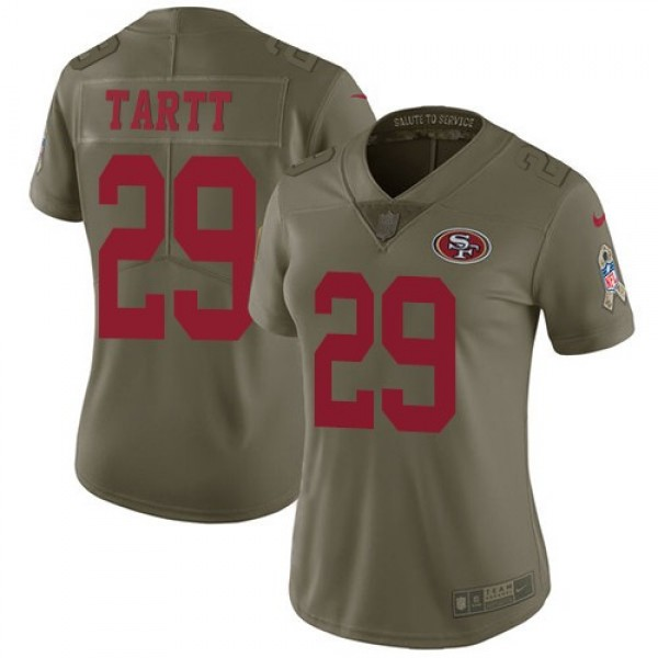 Women's 49ers #29 Jaquiski Tartt Olive Stitched NFL Limited 2017 Salute to Service Jersey
