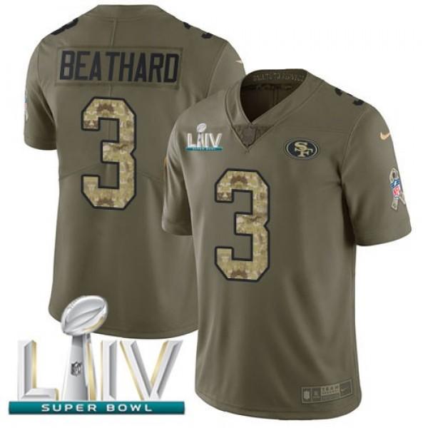 Nike 49ers #3 C.J. Beathard Olive/Camo Super Bowl LIV 2020 Men's Stitched NFL Limited 2017 Salute To Service Jersey
