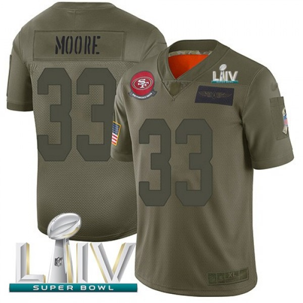 Nike 49ers #33 Tarvarius Moore Camo Super Bowl LIV 2020 Men's Stitched NFL Limited 2019 Salute To Service Jersey