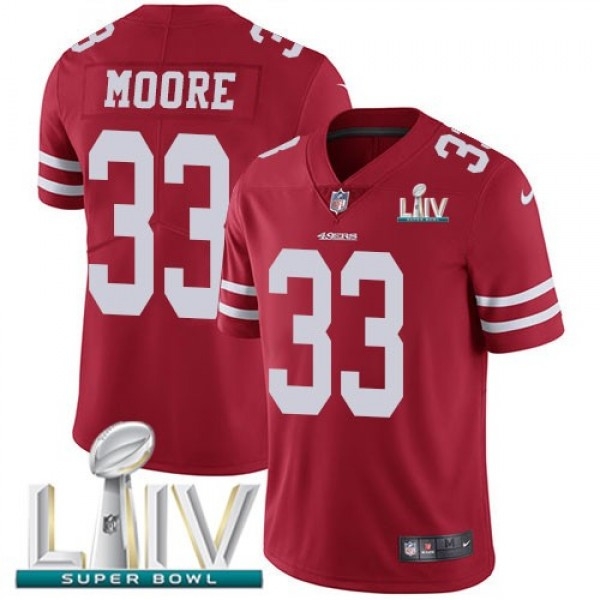 Nike 49ers #33 Tarvarius Moore Red Super Bowl LIV 2020 Team Color Men's Stitched NFL Vapor Untouchable Limited Jersey