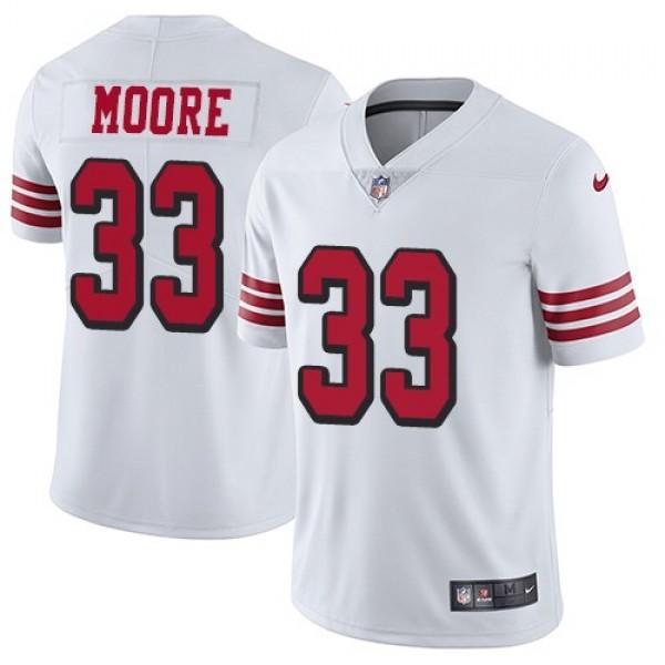 Nike 49ers #33 Tarvarius Moore White Rush Men's Stitched NFL Vapor Untouchable Limited Jersey