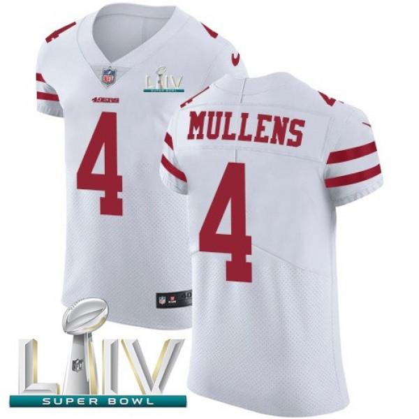 Nike 49ers #4 Nick Mullens White Super Bowl LIV 2020 Men's Stitched NFL Vapor Untouchable Elite Jersey