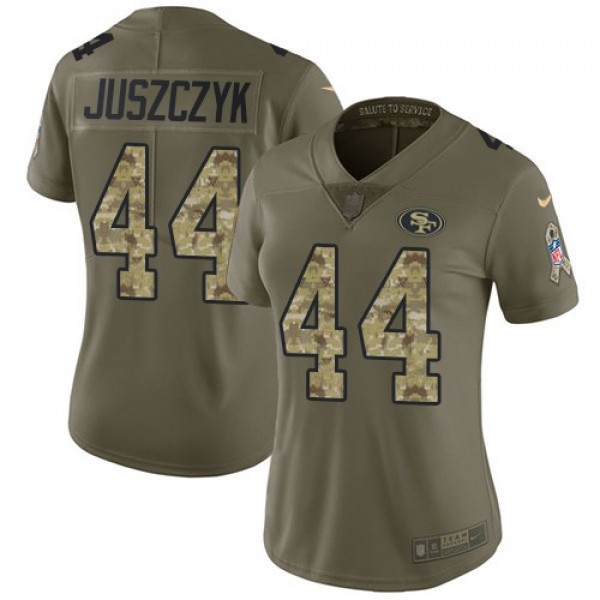 Women's 49ers #44 Kyle Juszczyk Olive Camo Stitched NFL Limited 2017 Salute to Service Jersey