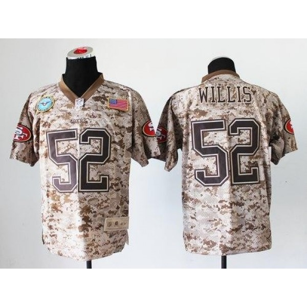 Nike 49ers #52 Patrick Willis Camo Men's Stitched NFL New Elite USMC Jersey