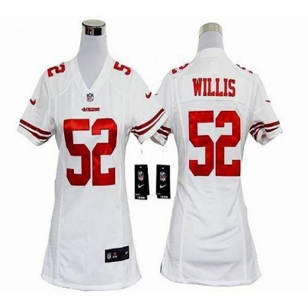 Women's 49ers #52 Patrick Willis White Stitched NFL Elite Jersey
