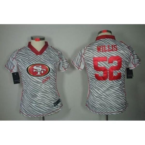 Women's 49ers #52 Patrick Willis Zebra Stitched NFL Elite Jersey