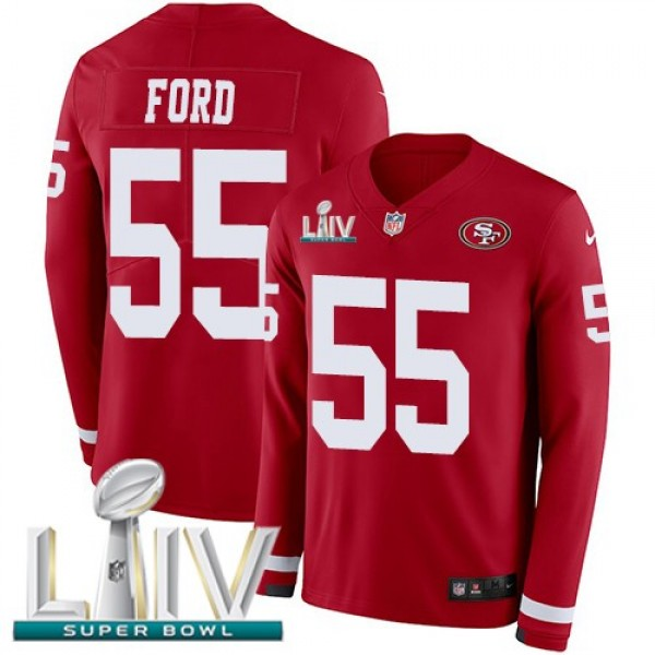 Nike 49ers #55 Dee Ford Red Super Bowl LIV 2020 Team Color Men's Stitched NFL Limited Therma Long Sleeve Jersey