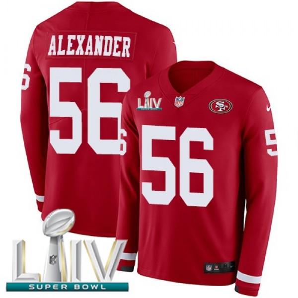 Nike 49ers #56 Kwon Alexander Red Super Bowl LIV 2020 Team Color Men's Stitched NFL Limited Therma Long Sleeve Jersey