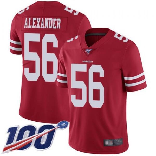 Nike 49ers #56 Kwon Alexander Red Team Color Men's Stitched NFL 100th Season Vapor Limited Jersey