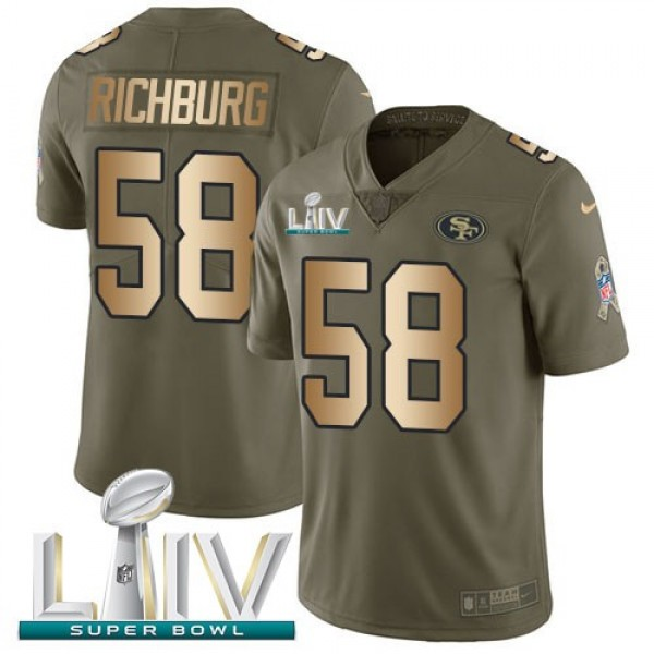Nike 49ers #58 Weston Richburg Olive/Gold Super Bowl LIV 2020 Men's Stitched NFL Limited 2017 Salute To Service Jersey