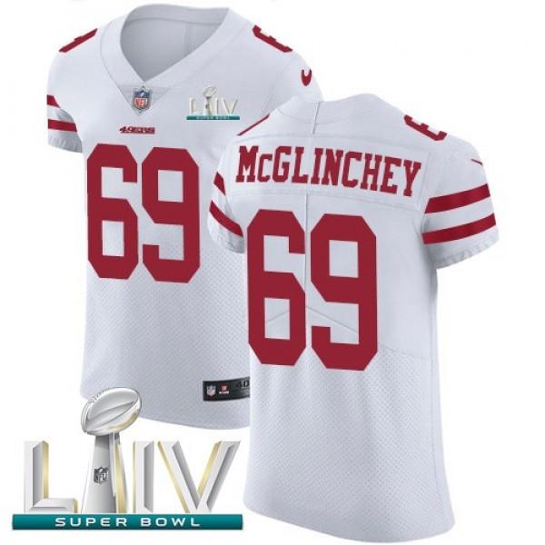Nike 49ers #69 Mike McGlinchey White Super Bowl LIV 2020 Men's Stitched NFL Vapor Untouchable Elite Jersey