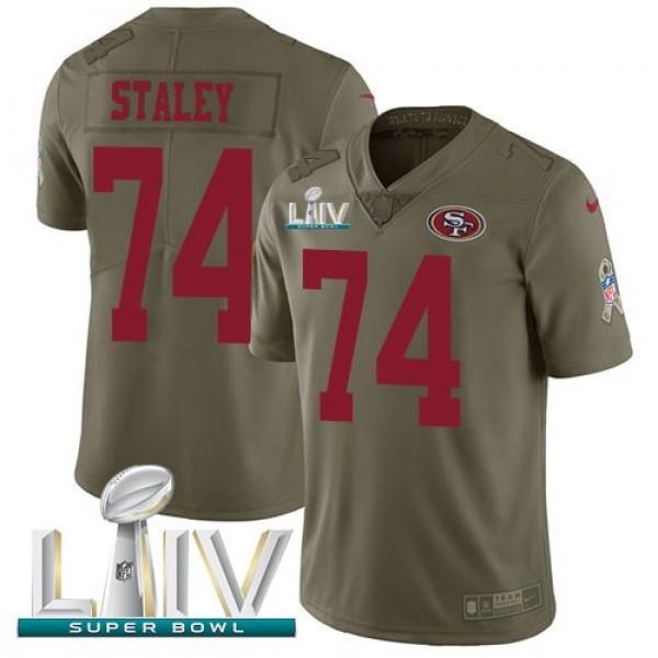 Nike 49ers #74 Joe Staley Olive Super Bowl LIV 2020 Men's Stitched NFL Limited 2017 Salute To Service Jersey