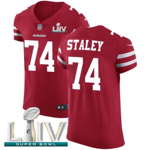 Nike 49ers #74 Joe Staley Red Super Bowl LIV 2020 Team Color Men's Stitched NFL Vapor Untouchable Elite Jersey