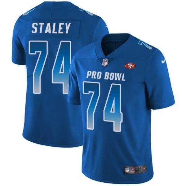 Nike 49ers #74 Joe Staley Royal Men's Stitched NFL Limited NFC 2018 Pro Bowl Jersey