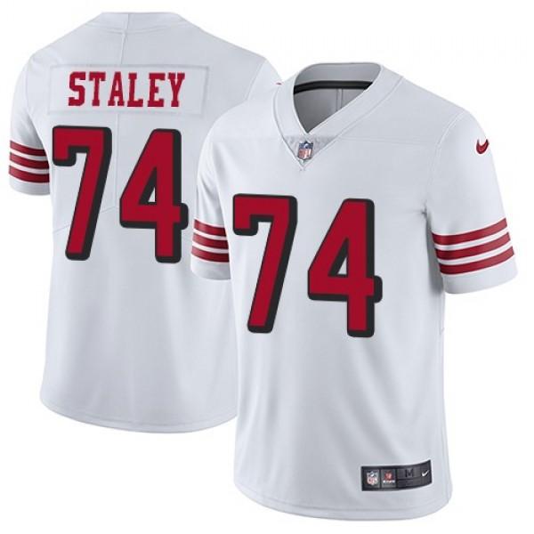 Nike 49ers #74 Joe Staley White Rush Men's Stitched NFL Vapor Untouchable Limited Jersey