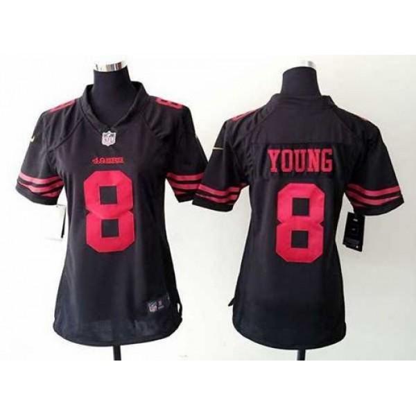 Women's 49ers #8 Steve Young Black Alternate Stitched NFL Elite Jersey