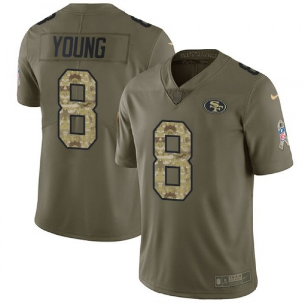 Nike 49ers #8 Steve Young Olive/Camo Men's Stitched NFL Limited 2017 Salute To Service Jersey