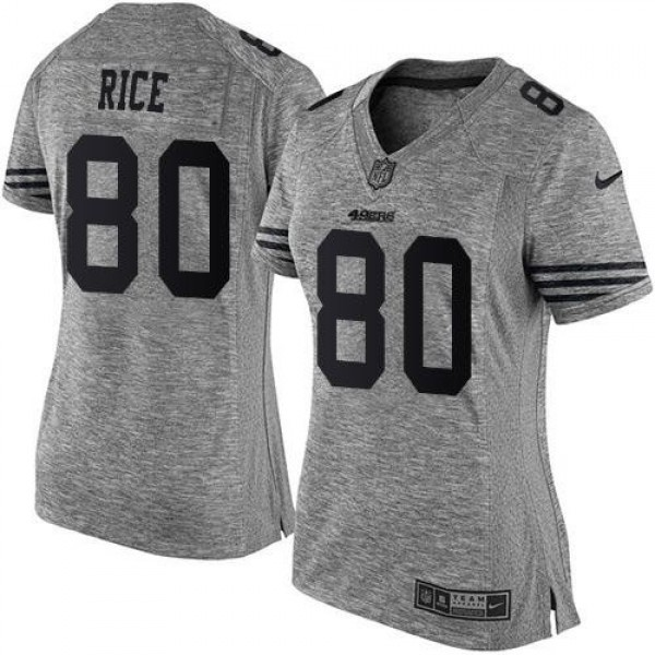 Women's 49ers #80 Jerry Rice Gray Stitched NFL Limited Gridiron Gray Jersey