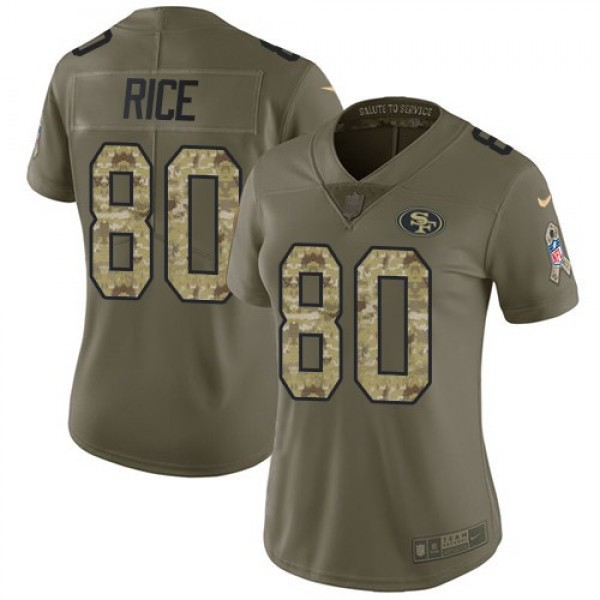 Women's 49ers #80 Jerry Rice Olive Camo Stitched NFL Limited 2017 Salute to Service Jersey