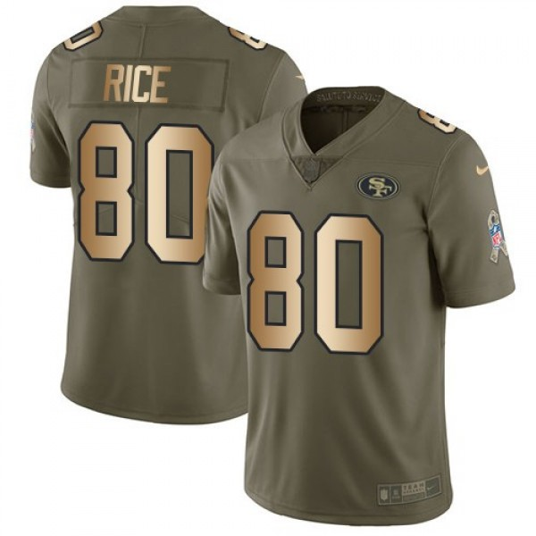 Nike 49ers #80 Jerry Rice Olive/Gold Men's Stitched NFL Limited 2017 Salute To Service Jersey
