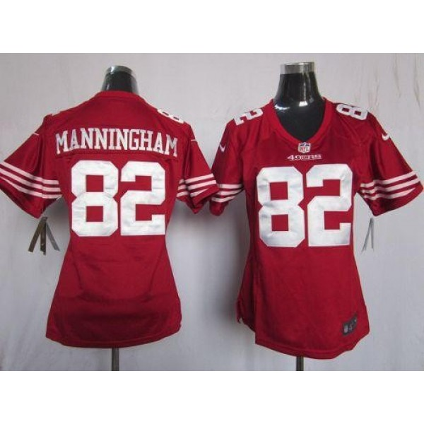 Women's 49ers #82 Mario Manningham Red Team Color Stitched NFL Elite Jersey