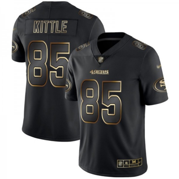 Nike 49ers #85 George Kittle Black/Gold Men's Stitched NFL Vapor Untouchable Limited Jersey