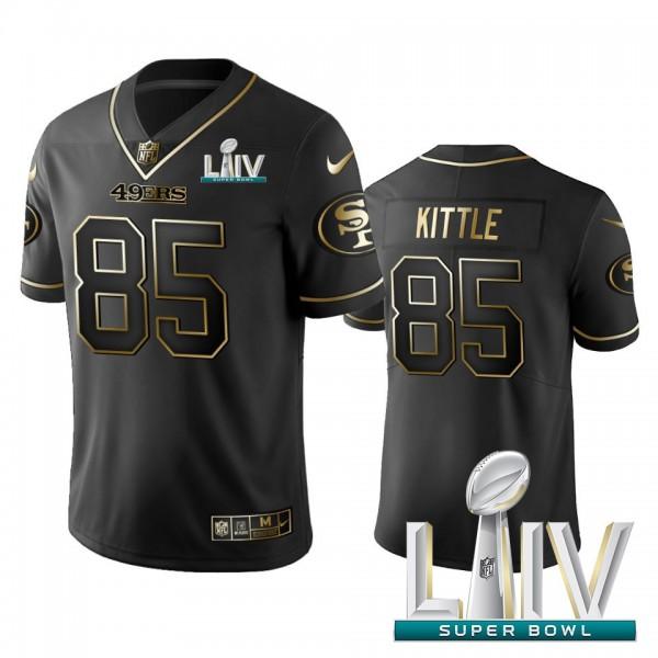 Nike 49ers #85 George Kittle Black Golden Super Bowl LIV 2020 Limited Edition Stitched NFL Jersey