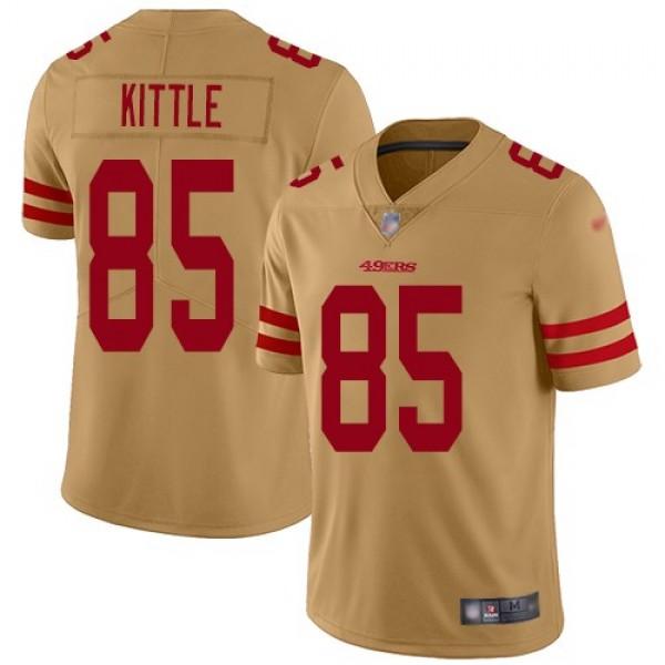 Nike 49ers #85 George Kittle Gold Men's Stitched NFL Limited Inverted Legend Jersey