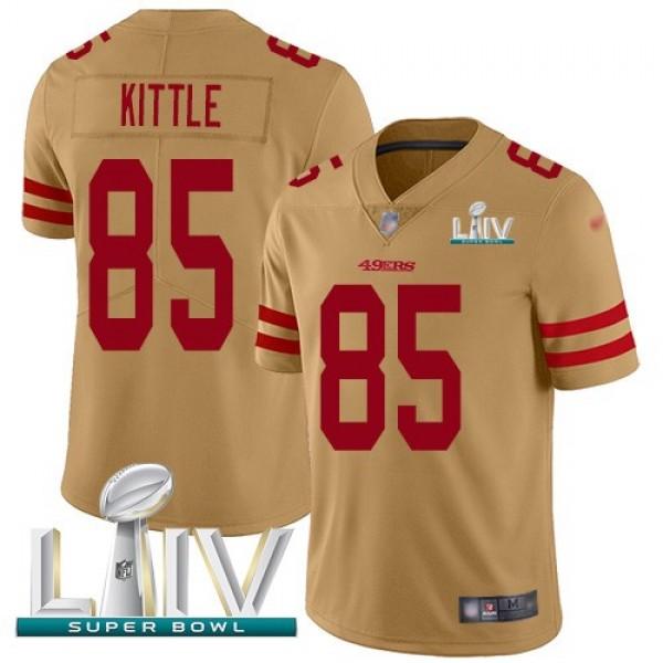 Nike 49ers #85 George Kittle Gold Super Bowl LIV 2020 Men's Stitched NFL Limited Inverted Legend Jersey