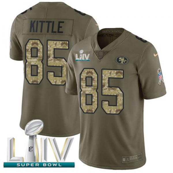 Nike 49ers #85 George Kittle Olive/Camo Super Bowl LIV 2020 Men's Stitched NFL Limited 2017 Salute To Service Jersey