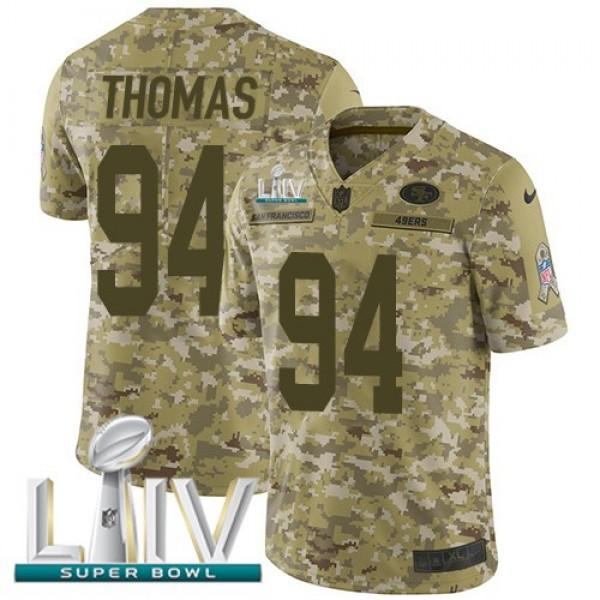 Nike 49ers #94 Solomon Thomas Camo Super Bowl LIV 2020 Men's Stitched NFL Limited 2018 Salute To Service Jersey