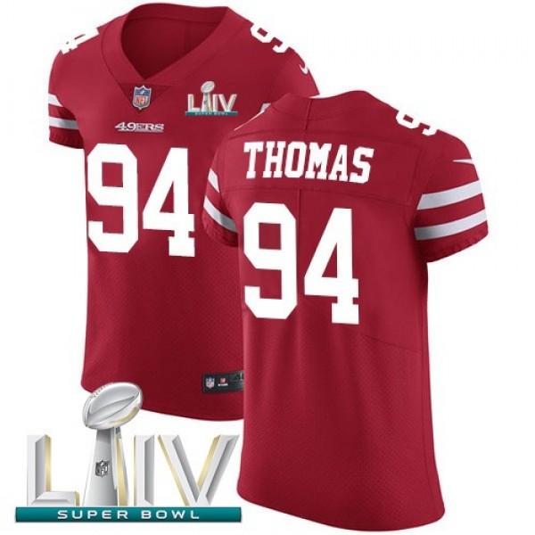 Nike 49ers #94 Solomon Thomas Red Super Bowl LIV 2020 Team Color Men's Stitched NFL Vapor Untouchable Elite Jersey