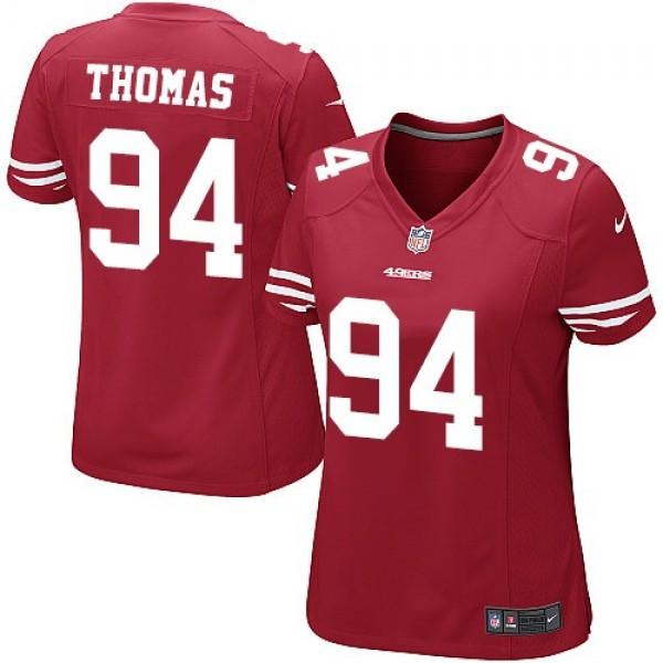 Women's 49ers #94 Solomon Thomas Red Team Color Stitched NFL Elite Jersey