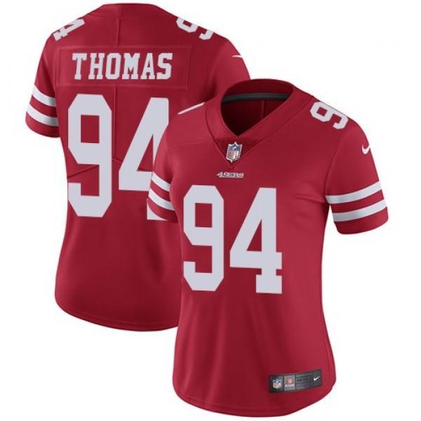 Women's 49ers #94 Solomon Thomas Red Team Color Stitched NFL Vapor Untouchable Limited Jersey