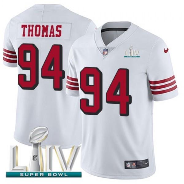 Nike 49ers #94 Solomon Thomas White Super Bowl LIV 2020 Rush Men's Stitched NFL Vapor Untouchable Limited Jersey