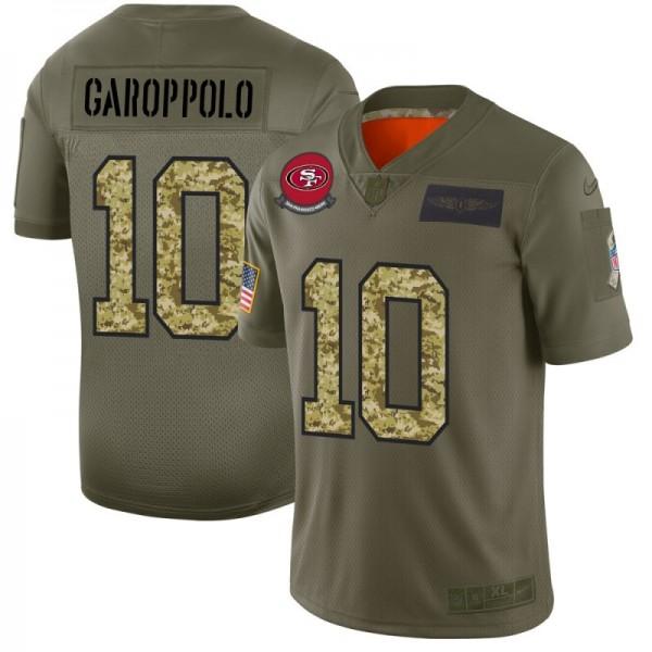 San Francisco 49ers #10 Jimmy Garoppolo Men's Nike 2019 Olive Camo Salute To Service Limited NFL Jersey