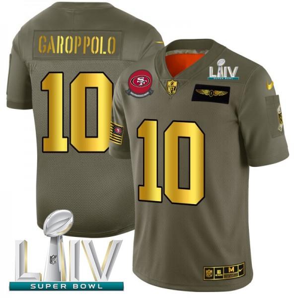San Francisco 49ers #10 Jimmy Garoppolo NFL Men's Nike Olive Gold Super Bowl LIV 2020 2019 Salute to Service Limited Jersey