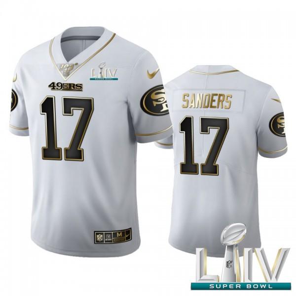 San Francisco 49ers #17 Emmanuel Sanders Men's Nike White Golden Super Bowl LIV 2020 Edition Vapor Limited NFL 100 Jersey