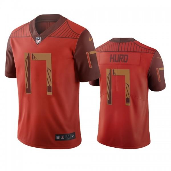 San Francisco 49ers #17 Jalen Hurd Orange Vapor Limited City Edition NFL Jersey