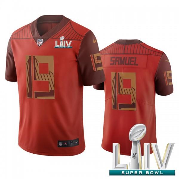 San Francisco 49ers #19 Deebo Samuel Orange Super Bowl LIV 2020 Vapor Limited City Edition NFL Jersey