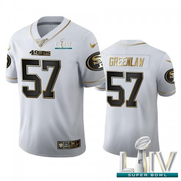 San Francisco 49ers #57 Dre Greenlaw Men's Nike White Golden Super Bowl LIV 2020 Edition Vapor Limited NFL 100 Jersey