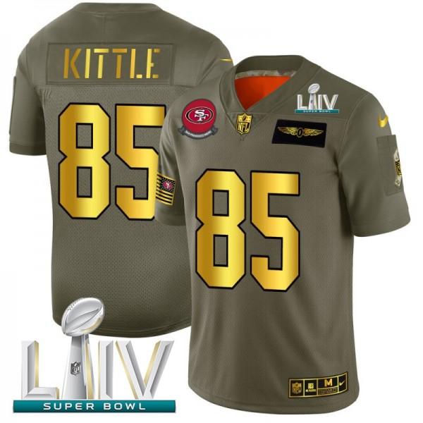 San Francisco 49ers #85 George Kittle NFL Men's Nike Olive Gold Super Bowl LIV 2020 2019 Salute to Service Limited Jersey