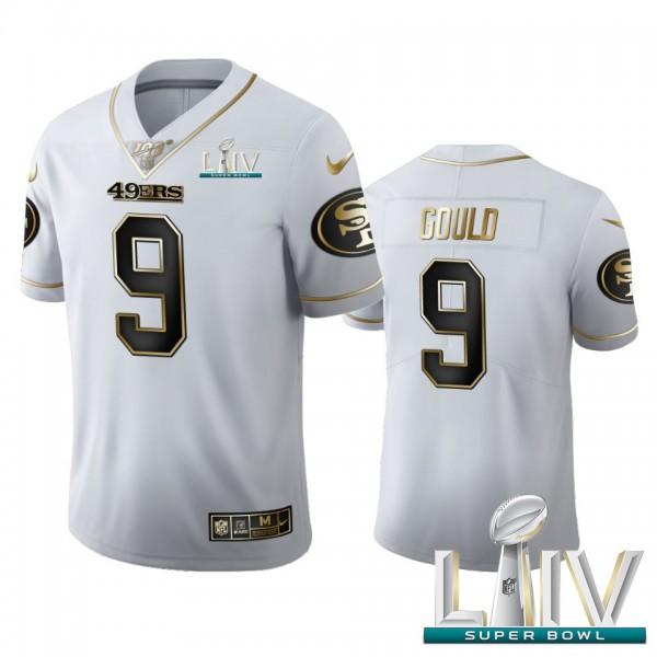 San Francisco 49ers #9 Robbie Gould Men's Nike White Golden Super Bowl LIV 2020 Edition Vapor Limited NFL 100 Jersey