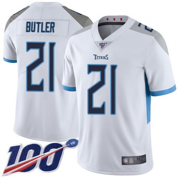 Nike Titans #21 Malcolm Butler White Men's Stitched NFL 100th Season Vapor Limited Jersey