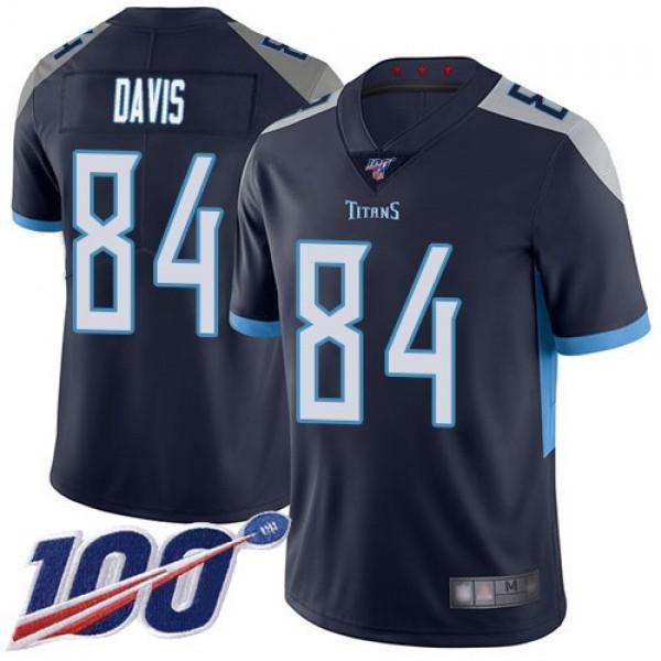 Nike Titans #84 Corey Davis Navy Blue Team Color Men's Stitched NFL 100th Season Vapor Limited Jersey