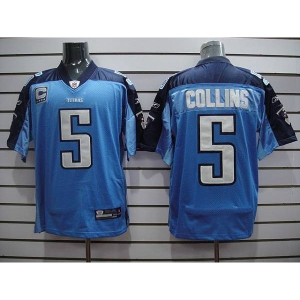 Titans #5 Kerry Collins Stitched Baby Blue NFL Jersey